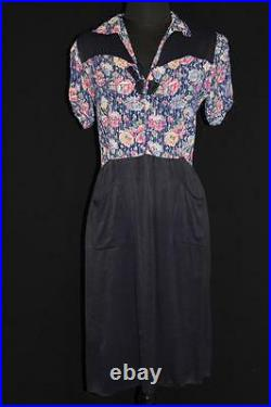 Very Rare French 1930's-1940's Wwii Era Blue Rayon Floral Print Dress Size 8-10