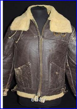 Very Rare Vintage 1940's Wwii Era Brown Shearling Leather Jacket Size Medium