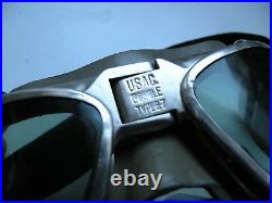 Very Rare Vintage WW2 US Navy USAC B7 Flight Goggles (Original) Green Lens