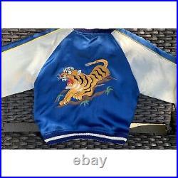 Vintage Japan Sukajan Souvenir Jacket 50s Reversible Tiger Dragon WW2 Rare Kids