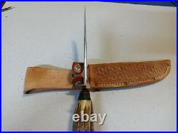Vintage Rare old UNSCO Solingen Bowie Scout Knife Stag Bone hunting case WWII