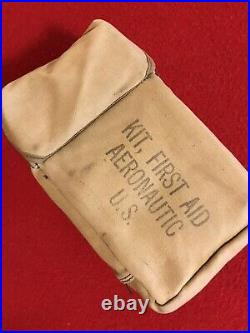 WW2 EARLY AAF AERONAUTIC FIRST AID KIT RARE Khaki. With Contents. MINT