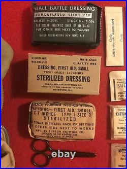 WW2 EARLY RARE! Khaki AAF AERONAUTIC FIRST AID KIT Contents NOS MINT Unissued