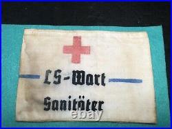 WW2 Original Rare German Luftwaffa Combat Medic Arm Band. Marked