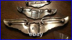 WW2 Rare Josten Pilot Wing 3 inch Pin back Sterling Silver Wing Plus 2 More