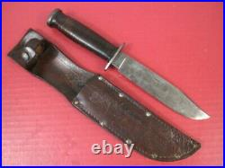 WWII Era US Army Kinfolks USA Fighting Knife withLeather Handle & Scabbard RARE