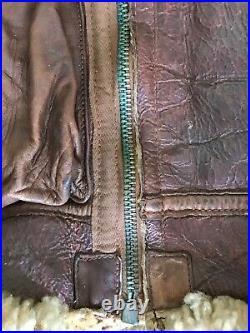 WWII TYPE B3 Leather Sheepskin Bomber Flight Jacket Rare Original