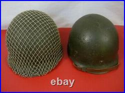 WWII US Army M1 M1C Paratrooper Helmet & Liner withSwivel Bale & Front Seam RARE
