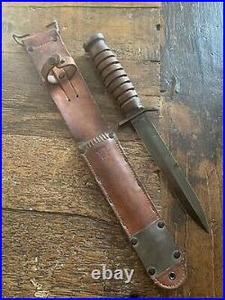WWII US M3 BLADE DATED 1943 KINFOLKS TRENCH KNIFE WithM6 SCABBARD-RARE BLUE BLADE
