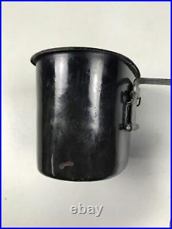 WWII WW2 US ARMY USMC Black Enamel Canteen Cup 1942 Porcelain LF&C RARE