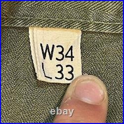 WWII WW2 US Army 13 Star Buttons HBT Herringbone Trousers Pants RARE LARGE 34x33